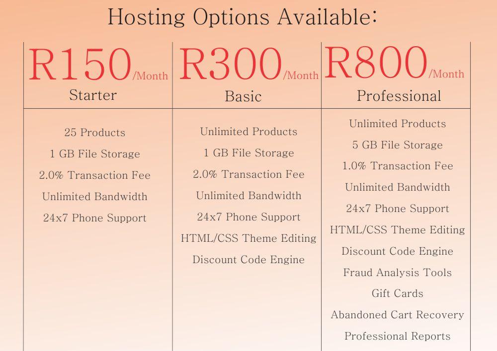 Hosting Price E-commerce